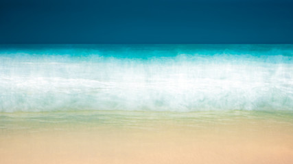 Empty sea and beach background with copy space, Long exposure, blur motion blue abstract vintage tinted gradient background