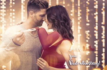 Liebespaar zum Valentinstag bemalt Herz Karte Alles liebe zum Valentinstag