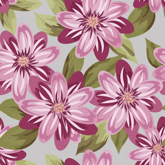 Floral Pattern. Wedding Print, Retro Flowers Background, Rustic Design. Floral Seamless Pattern in Pastel Colors. Feminine Floral Fashion Illustration.Vector. Eps10.
