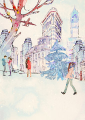 Winter time, Valentines Day. Watercolor background