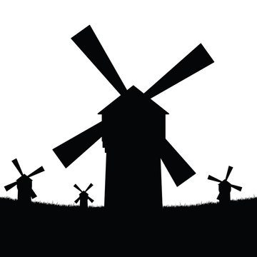 windmill silhouette with grass