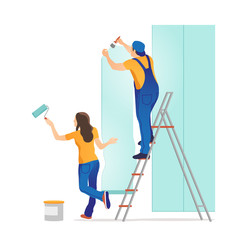 Home repair. Man and woman glues wallpaper at home. Vector illustration.