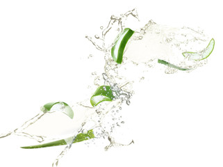 Beautiful water splash isolated on white. Pure liquid