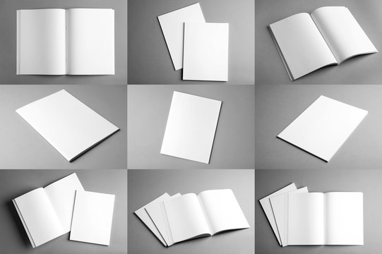 Set of different blank brochures on grey background. Mock up with space for text