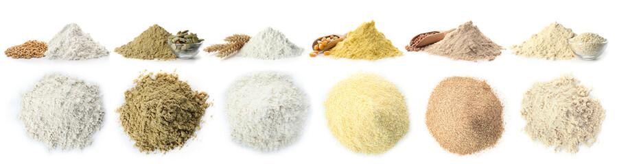 Poster de jardin Graine, aromate Heap of wheat flour on white background