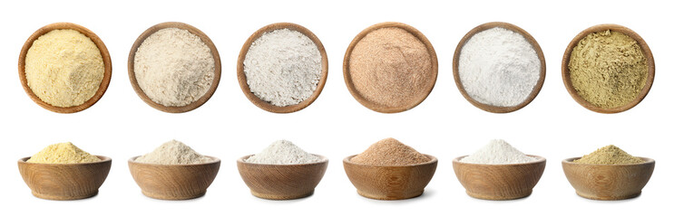 Stores photo Graine, aromate Set of organic flour in wooden bowls on white background