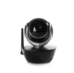 Modern CCTV security camera on white background