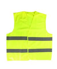 Reflective vest on white background. Safety equipment