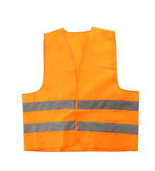 Reflective vest on white background. Safety equipment