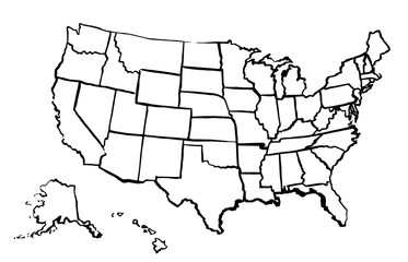 Drawing Art Map Of United States Of America Linear