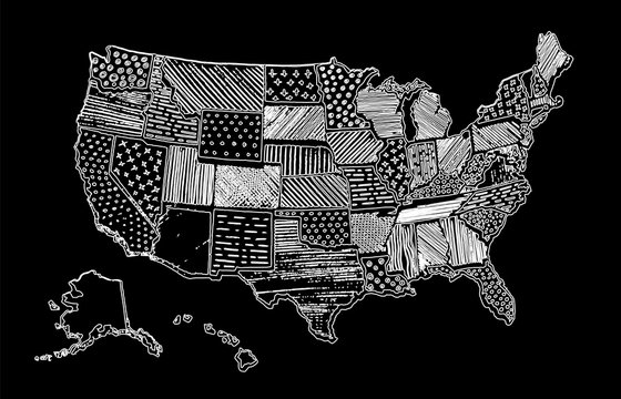 Drawing Map Of United States Of America Chalk USA