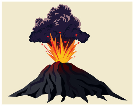 Powerful volcanic eruption