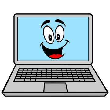 Laptop Cartoon - A vector cartoon illustration of a Computer Laptop mascot.
