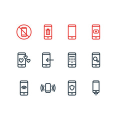 Vector illustration of 12 telephone icons line style. Editable set of arrow down, camera, protection and other icon elements.