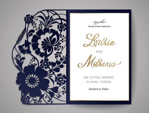 Wedding invitation or greeting card with floral ornament. Wedding invitation envelope for laser cutting. Vector illustration