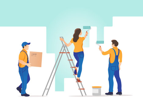 Home repair. Man and woman painting the wall in new home. Vector illustration.