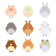 Cartoon cute animals for baby card and invitation. Vector illustration. Pig, bear, polar bear, sheep, dog, fox, wolf, deer, rabbit. Cool and lovely illustration, simple child design.