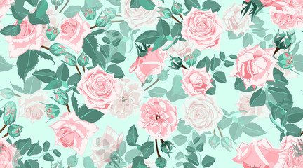 Vintage Roses, Seamless Floral Pattern.