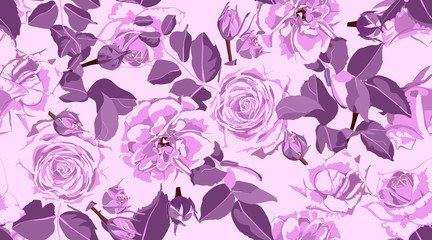 Seamless Rose Pattern, Rustic Floral Background.