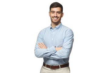 Handsome smiling business man in blue shirt standing with crossed arms, isolated on white background