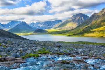 Summer landscape with mountains, Lake Hadata, Polar Urals, Yamal