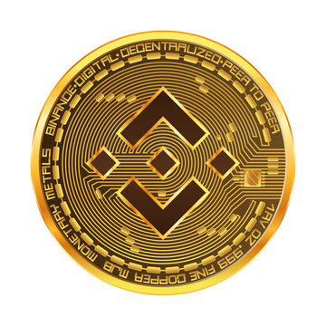 Crypto currency golden coin with binance symbol on obverse isolated on black background. Vector illustration. Use for logos, print products, page and web decor or other design.