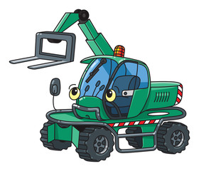 Funny small forklift truck or loader car with eyes
