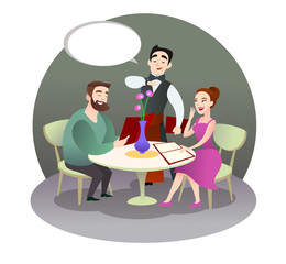 loving couple is having dinner in a restaurant