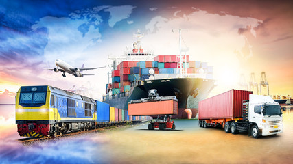 Obraz Global business logistics import export background and container cargo freight ship transport concept - fototapety do salonu