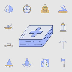 first-aid kit icon. Detailed set of color camping tool icons. Premium graphic design. One of the collection icons for websites, web design, mobile app