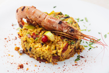 Paella served with shrimp