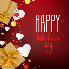 Happy Valentine's Day romantic postcard with gift boxes and decorative elements, vector illustration