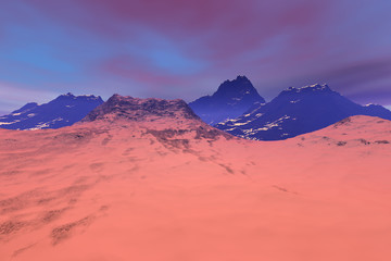 Mountains, a rocky landscape, snow and pink clouds in the sky.
