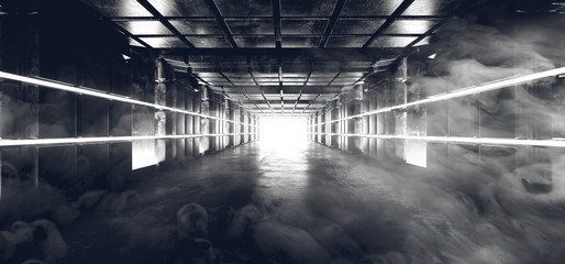 Smoke Foggy Futuristic Sci Fi Modern Alien Reflective Grunge Concrete Glossy Cube Shaped Rectangle Tunnel Corridor Empty Space White Glow End Background 3D Rendering