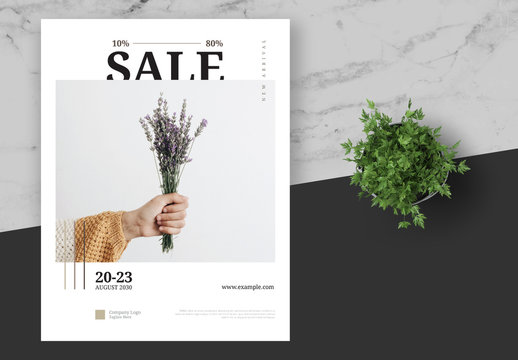 Fashion Store Sale Flyer Layout with Line Elements