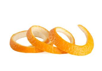 orange peel, spiraling, isolated on white close-up
