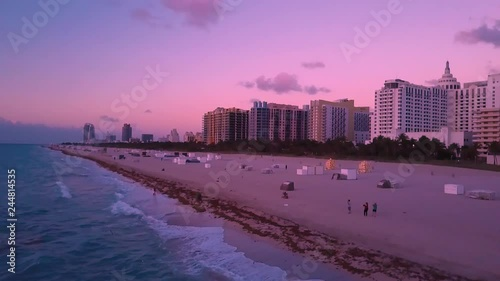 Peaceful Pink Sunrise at South Beach MIami Florida Above
