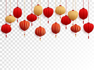 Red and gold chinese lanterns on transparent.