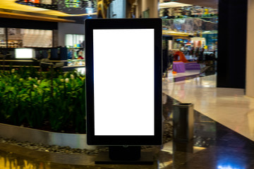 Digital media blank black and white screen modern panel, signboard for advertisement design in a shopping center, gallery. Mockup, mock-up, mock up with blurred background, digital kiosk. Wall mural