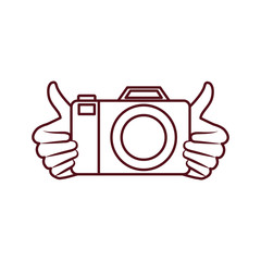 hands with photography objects isolated icon
