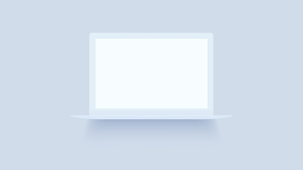 White laptop mockup on background. Macbook with blank screen. Open notebook front view. Modern thin ultrabook vector illustration. Realistic isolated model with place for text or advertising.