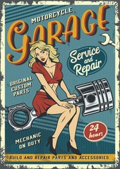 Retro garage service colorful poster