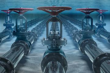 Pipelines on ocean bottom underwater. 3D rendering