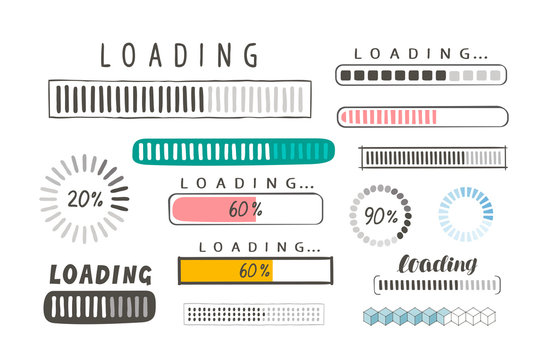 Progress loading bar, set of icons. Load symbol. Hand-drawn sketch vector
