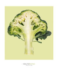 Cross section through a head of broccoli. Healthy eating concept