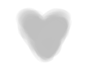 Watercolor digital heart on white. Aquarelle blotch on isolated background. Blur stain. Hand drawn spot for design and work. Black and white illustration