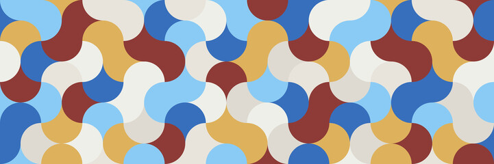 Flat, widescreen geometric background in tones of chili oil for interior, design, advertising, screen saver, wallpaper, walls. Seamless pattern option.