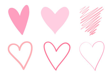 Colorful trendy hearts on isolated white background. Hand drawn set of love signs. Abstract image for design. Line art creation. Colored illustration. Sketchy elements for artworks