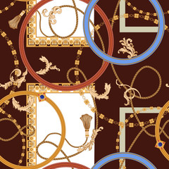 Baroque seamless pattern with chains, gems and ropes. Vector patch for print, fabric, scarf
