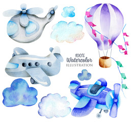 Watercolor air transport elements (airplane, helicopter, hot balloon) collection, illustration for kids